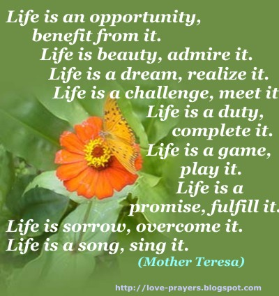 "One Response to ""Quotes by Mother Teresa: Life is…"" Comments"
