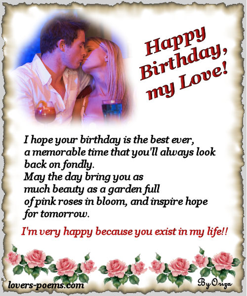 Happy Birthday Poems For Him Cute Poetry For Boyfriend Or: Lovers Poems - By Oriza.net